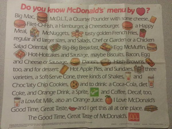 remembering the mcdonald s menu song will make you wish it was 1988