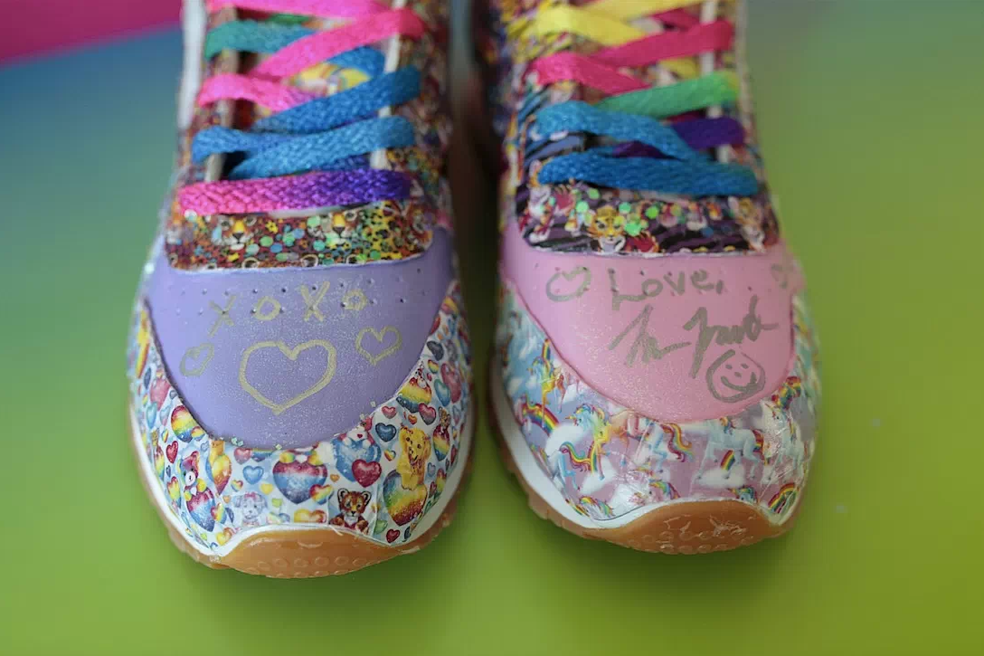 6113d1bb5597 Each are covered in little images that almost make it look like every shoe  is covered in Lisa Frank stickers