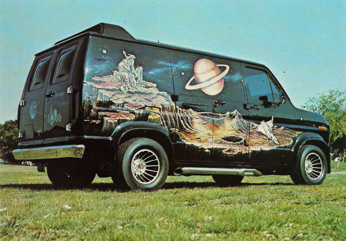 Conversion Van With Airbrushed Wolf Paint Job