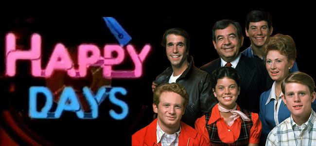 Happy Days cast and logo