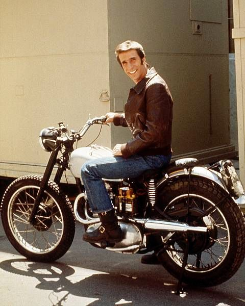 Fonzie on his motorcycle