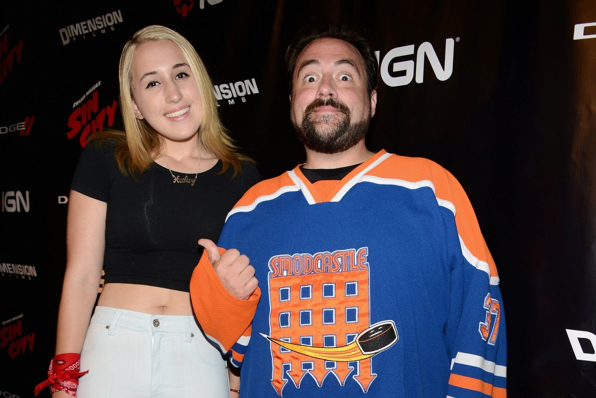 Kevin Smith and his daughter Harley Quinn