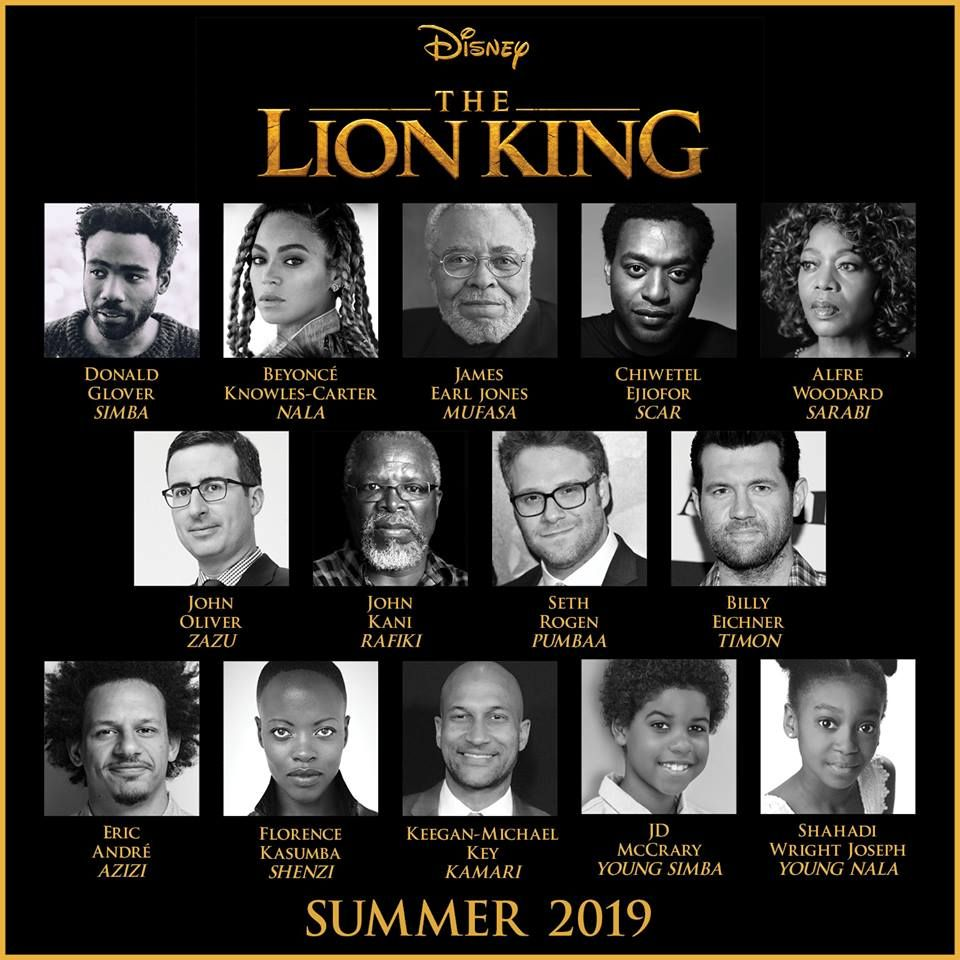 Cast list for the live action Lion King