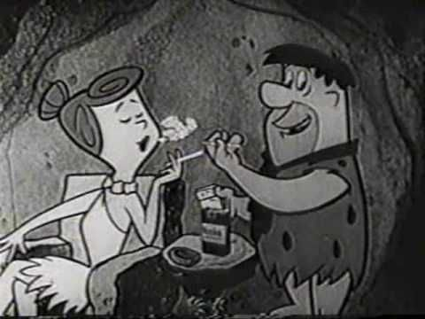 Fred and Wilma Flintstone smoking