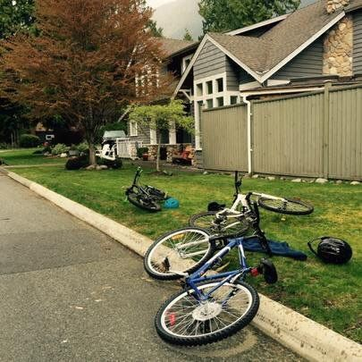 Bikes on lawn
