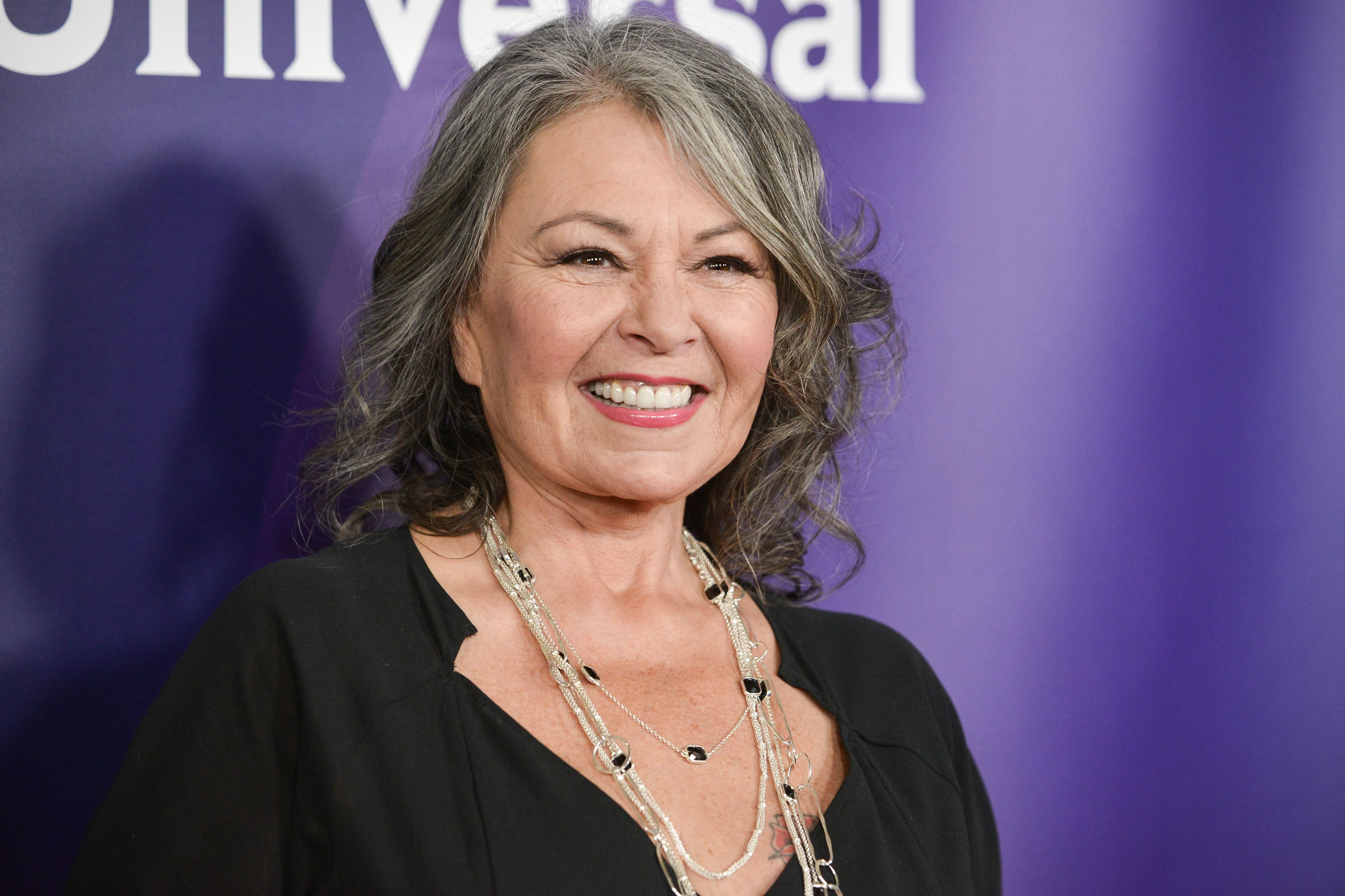 Roseanne Barr looking happy