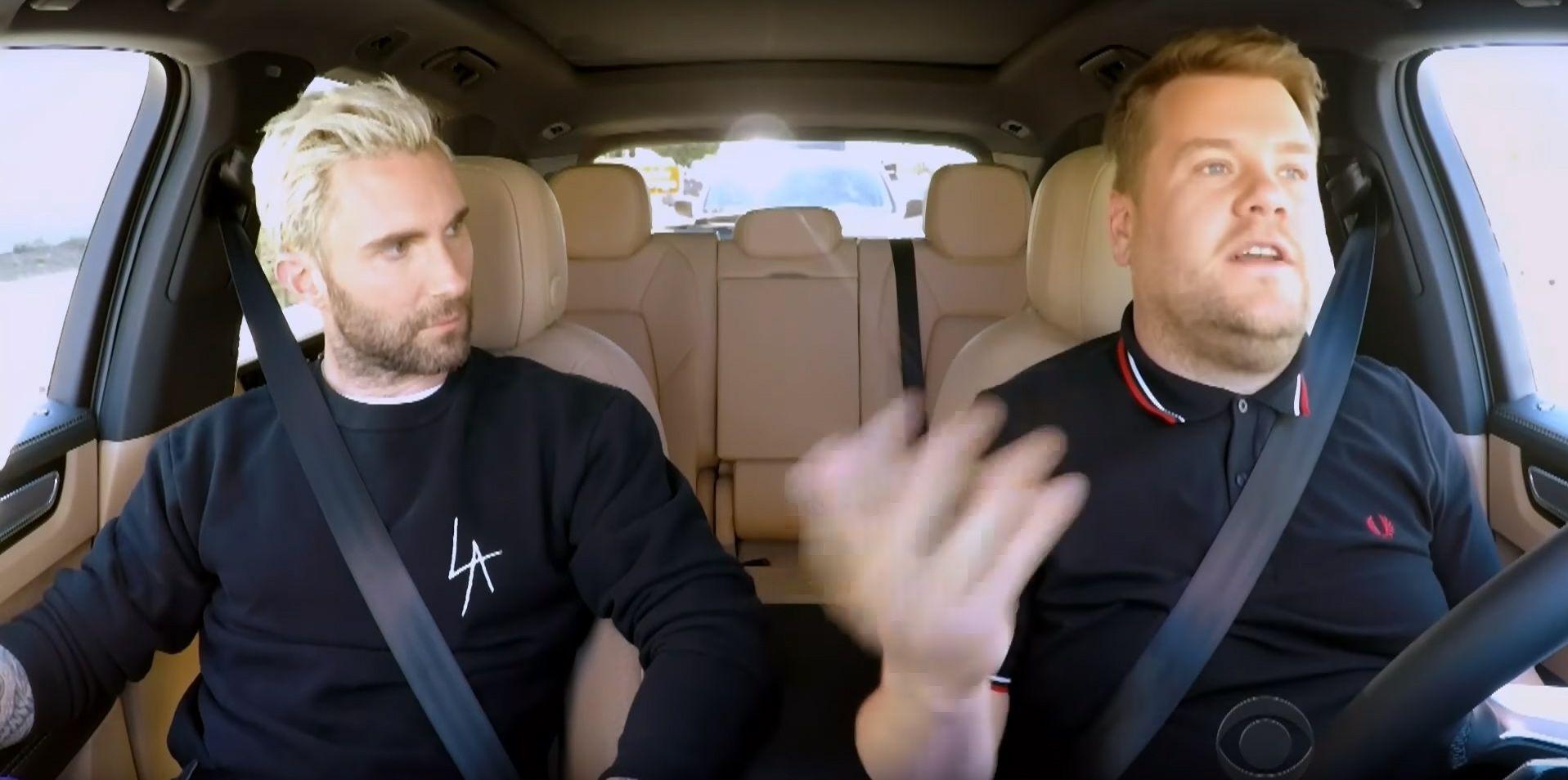 Adam Levine and James Corden in Carpool Karaoke