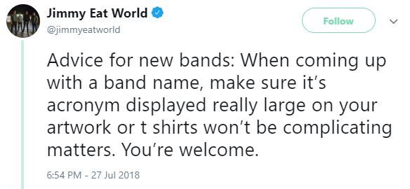 Jimmy Eat World name tweet