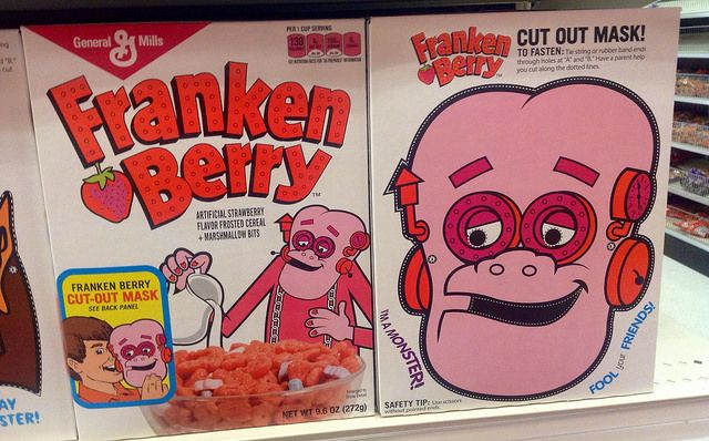 Franken Berry cereal boxes