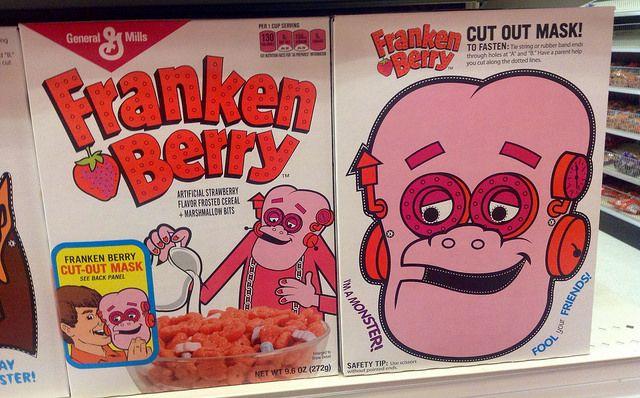 Franken Berry cereal boxes