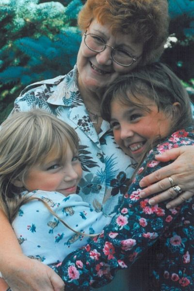 Grandmother with her two granddaughters