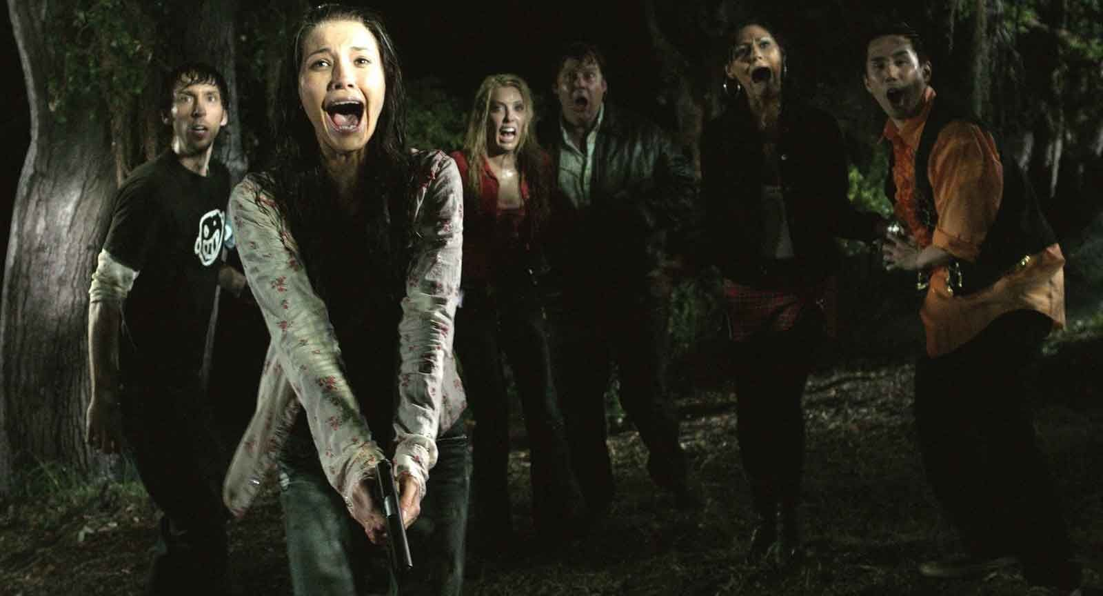 Horrified tourists/soon-to-be victims in 'Hatchet'
