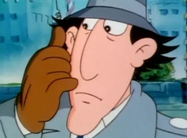 Inspector Gadget using his finger phone
