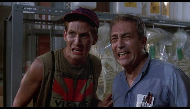 James Karen and Thom Matthews in 'Return of the Living Dead'