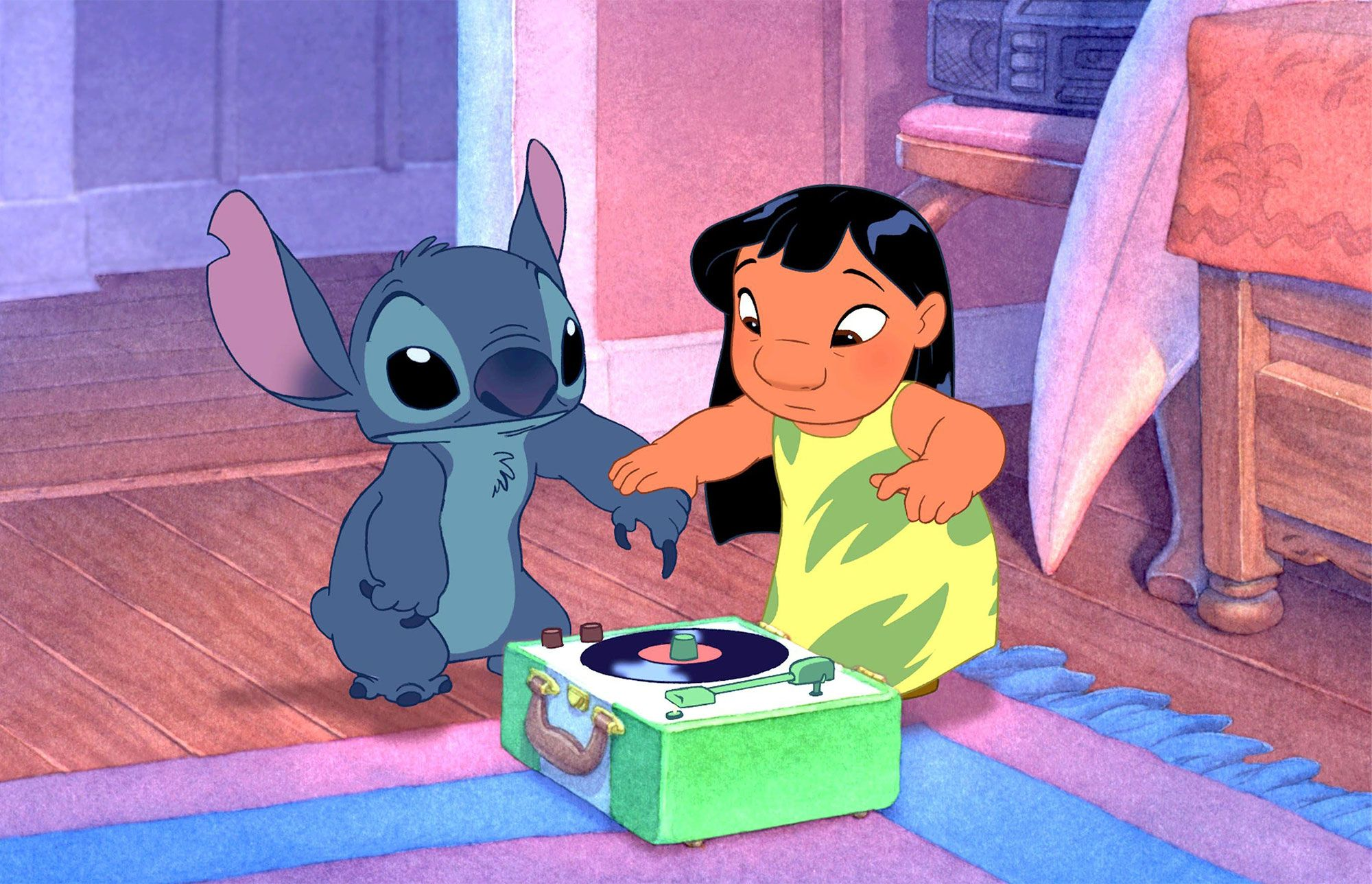 Lilo and Stitch and the record player
