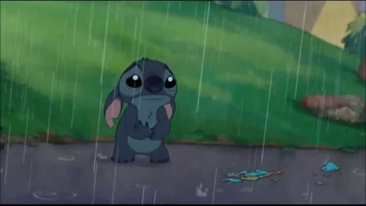 Stich crying in the rain