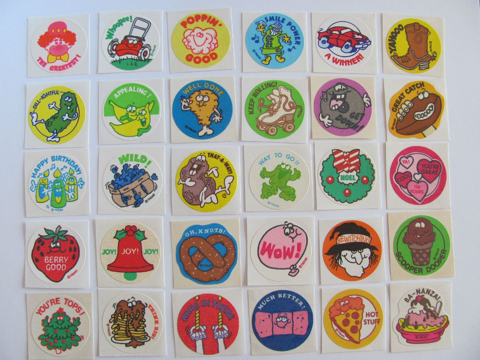 A sheet of scratch 'n' sniff stickers