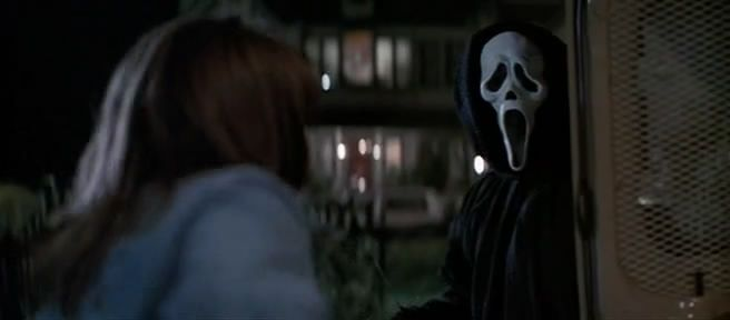"Neve Campbell and ""Ghostface"" in 'Scream'"