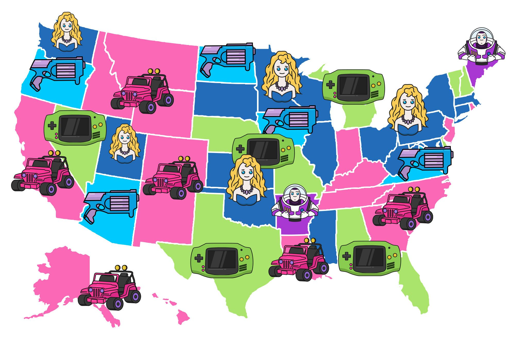Map of state's favorite toys