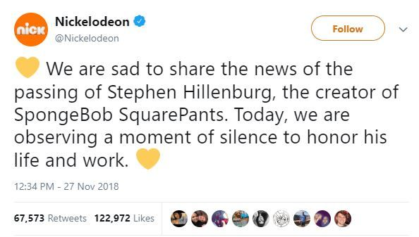 Nickelodeon tweets about Stephen Hillenburg's death